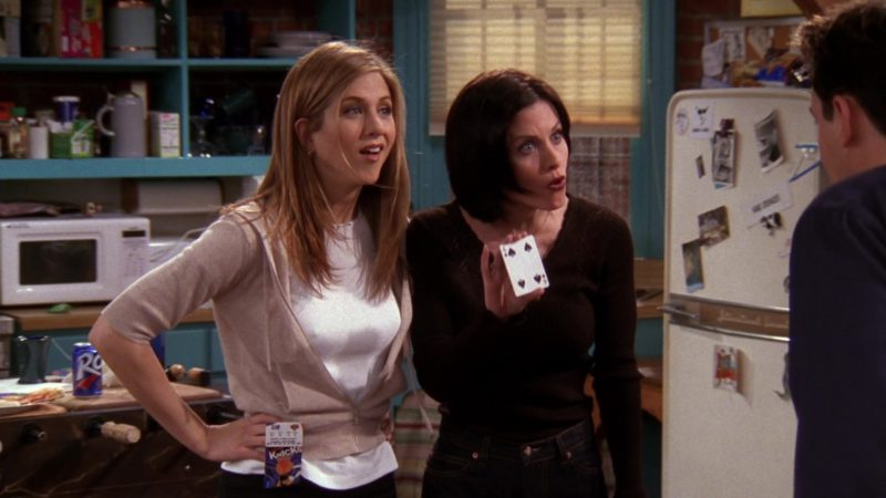 """Knicks Tickets Held by Jennifer Aniston (Rachel Green) in Friends Season 4 Episode 20 """"The One With the Wedding Dresses"""" (1998) - TV Show Product Placement"""