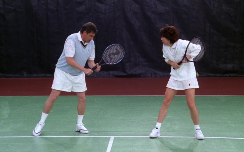 Lacoste Vest, Nike Tennis Skirt and Nike Sneakers and Silver Sports Racket in Friends