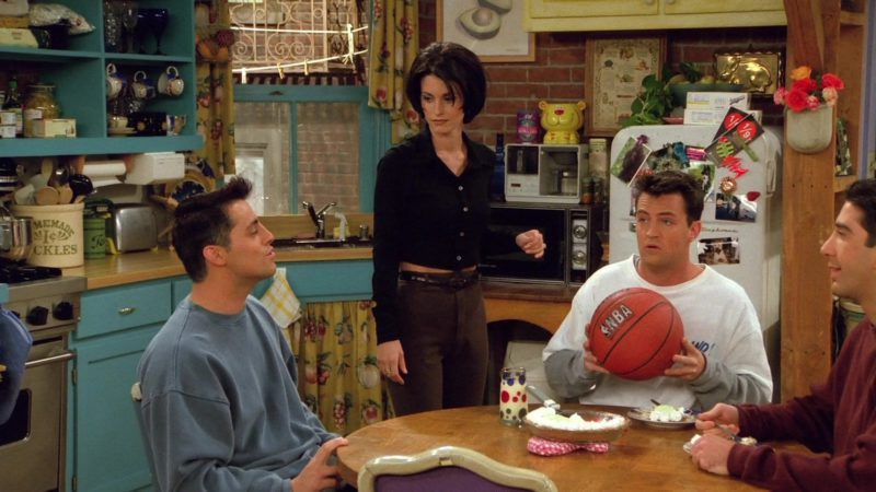 "NBA Basketball Held by Matthew Perry (Chandler Bing) in Friends Season 2 Episode 6 ""The One With the Baby on the Bus"" (1995) - TV Show Product Placement"