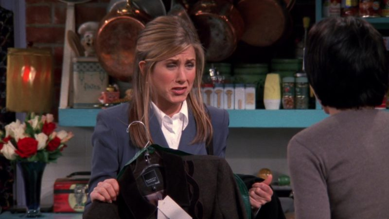 "Nanette Lepore Jacket and Skirt Held by Jennifer Aniston (Rachel Green) in Friends Season 4 Episode 8 ""The One with Chandler in a Box"" (1997) - TV Show Product Placement"