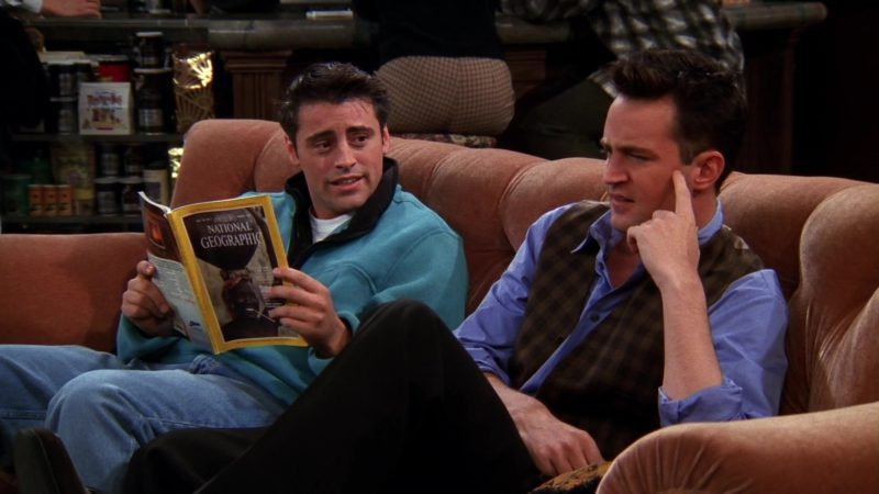 "National Geographic Magazine Held by Matt LeBlanc (Joey Tribbiani) in Friends Season 5 Episode 7 ""The One Where Ross Moves In"" (1998) - TV Show Product Placement"