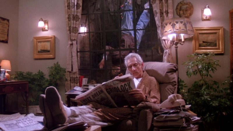 """New York Post Newspaper Held by Larry Hankin (Mr. Heckles) in Friends Season 1 Episode 17 """"The One with Two Parts: Part 2"""" (1995) - TV Show Product Placement"""