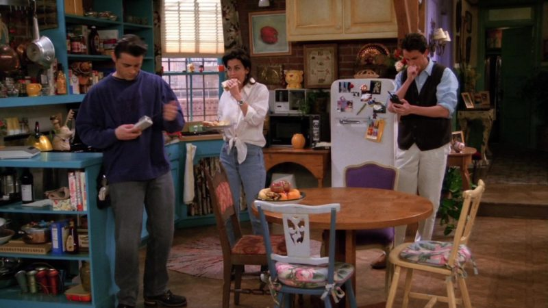"Nike Air Blue Sweatshirt Worn by Matt LeBlanc (Joey Tribbiani) in Friends Season 1 Episode 20 ""The One With the Evil Orthodontist"" (1995) - TV Show Product Placement"