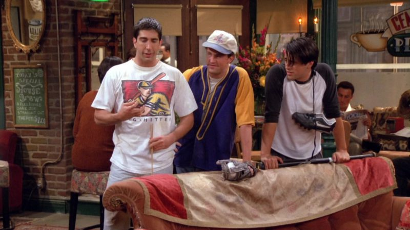 "Nike Baseball Cleats Held by Matt LeBlanc (Joey Tribbiani) in Friends Season 1 Episode 3 ""The One With the Thumb"" (1994) - TV Show Product Placement"