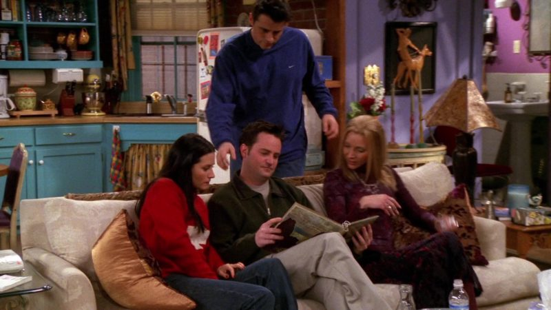 "Nike Blue Sweatshirt Worn by Matt LeBlanc (Joey Tribbiani) in Friends Season 6 Episode 14 ""The One Where Chandler Can't Cry"" (2000) - TV Show Product Placement"