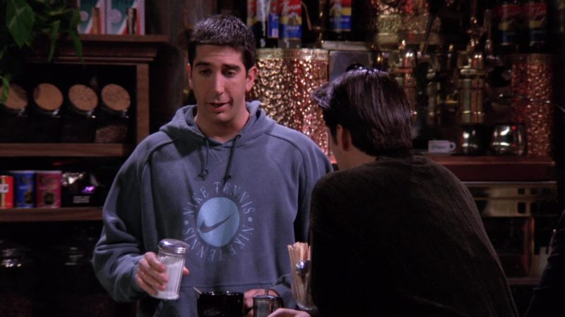 """Nike Hoodie """"Tennis"""" Worn by David Schwimmer (Ross Geller) in Friends Season 1 Episode 15 """"The One With the Stoned Guy"""" (1995) - TV Show Product Placement"""