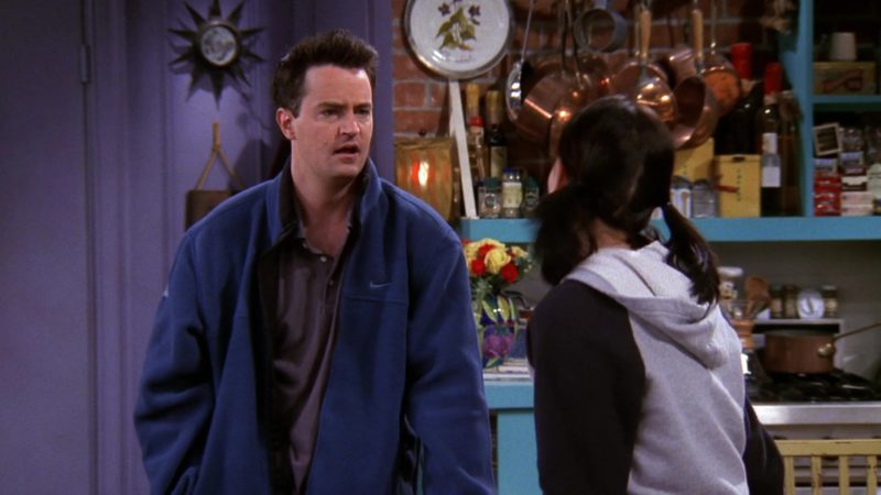 """Nike Jacket Worn by Matthew Perry (Chandler Bing) in Friends Season 5 Episode 12 """"The One with Chandler's Work Laugh"""" (1999) - TV Show Product Placement"""