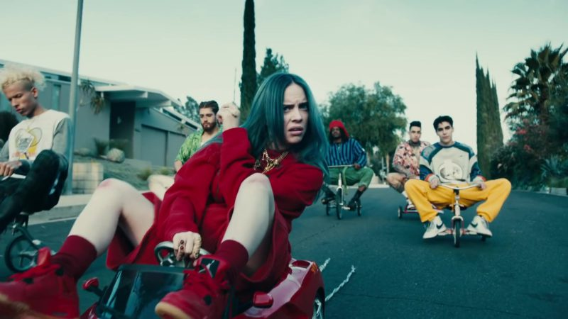 "Nike Jordan Red Sneakers Worn by Billie Eilish in ""Bad Guy"" (2019) Official Music Video Product Placement"