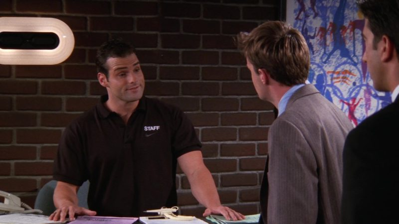 """Nike Men's Black Short Sleeve Shirt Worn by Actor in Friends Season 4 Episode 4 """"The One With the Ballroom Dancing"""" (1997) TV Show Product Placement"""