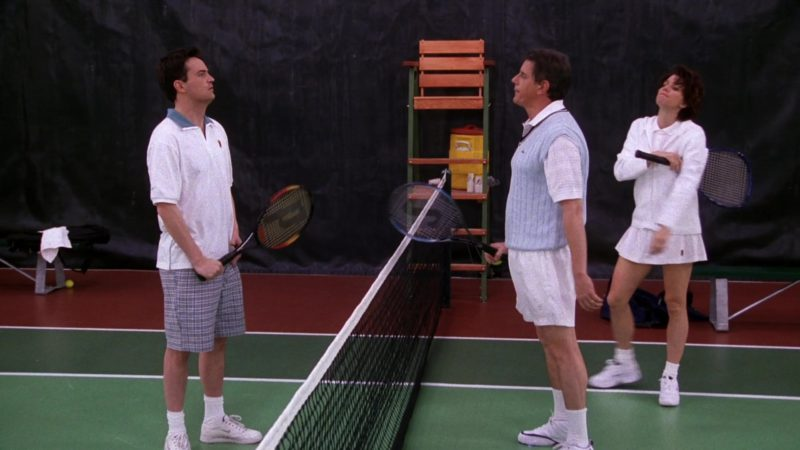 """Nike Shirt, Sneakers and Prince Racket Used by Matthew Perry as Chandler Bing in Friends Season 5 Episode 12 """"The One with Chandler's Work Laugh"""" (1999) - TV Show Product Placement"""