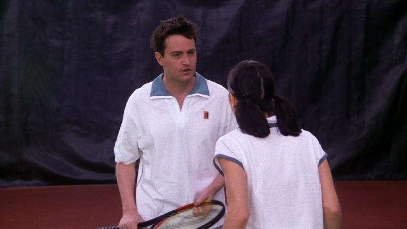 "Nike Shirt  and Prince Racket Used by Matthew Perry (Chandler Bing) in Friends Season 5 Episode 12 ""The One with Chandler's Work Laugh"" (1999) - TV Show Product Placement"