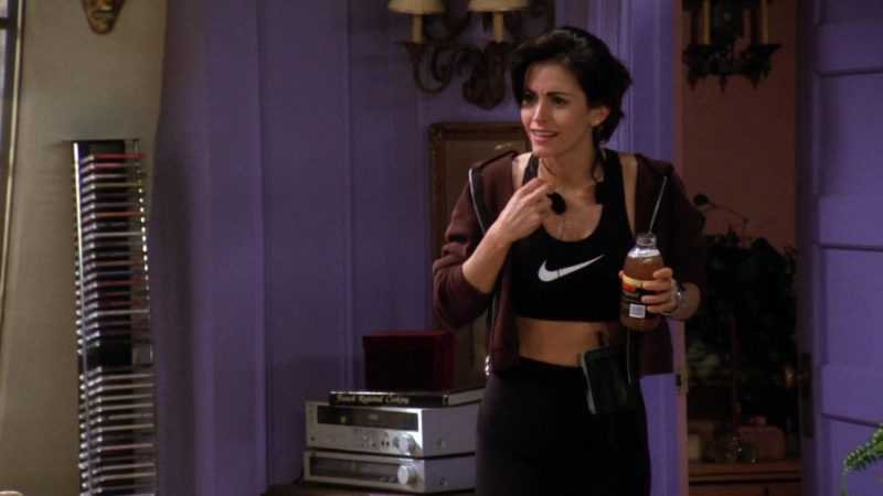 "Nike Sports Bra Worn by Courteney Cox (Monica Geller) in Friends Season 1 Episode 22 ""The One With the Ick Factor"" (1995) TV Show Product Placement"