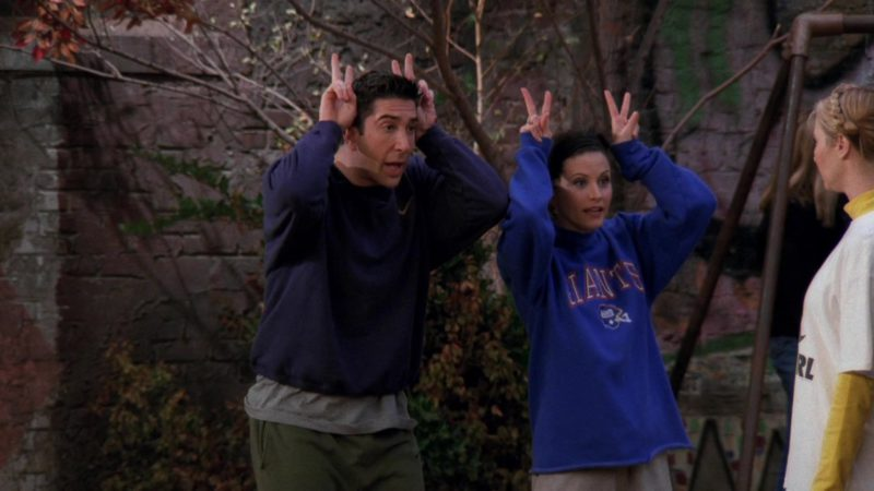 """Nike Sweatshirt Worn by David Schwimmer (Ross Geller) in Friends Season 3 Episode 9 """"The One with the Football"""" (1996) - TV Show Product Placement"""