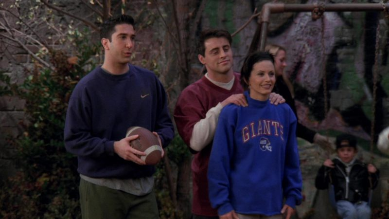 "Nike Sweatshirt Worn by David Schwimmer (Ross Geller) in Friends Season 3 Episode 9 ""The One with the Football"" (1996) - TV Show Product Placement"