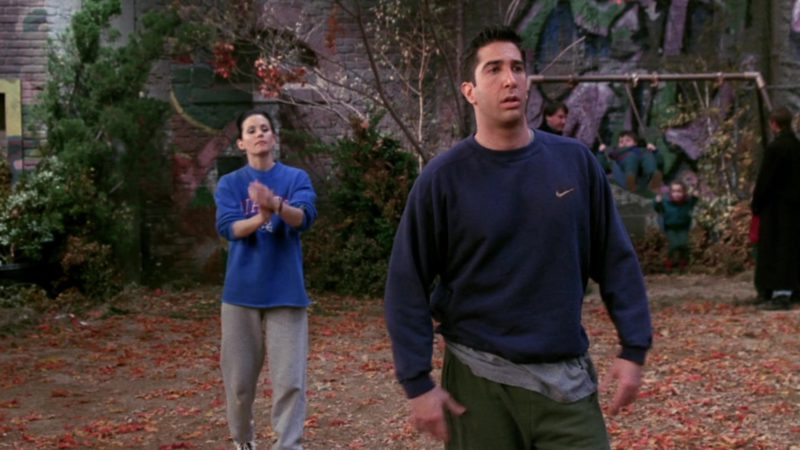 """Nike Sweatshirt Worn by David Schwimmer (Ross Geller) in Friends Season 3 Episode 9 """"The One with the Football"""" (1996) TV Show Product Placement"""