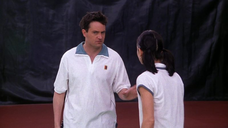"Nike Tennis Shirt Worn by Matthew Perry (Chandler Bing) in Friends Season 5 Episode 12 ""The One with Chandler's Work Laugh"" (1999) - TV Show Product Placement"
