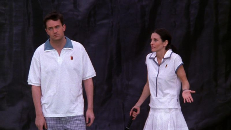 """Nike Tennis Shirt Worn by Matthew Perry (Chandler Bing) in Friends Season 5 Episode 12 """"The One with Chandler's Work Laugh"""" (1999) TV Show Product Placement"""