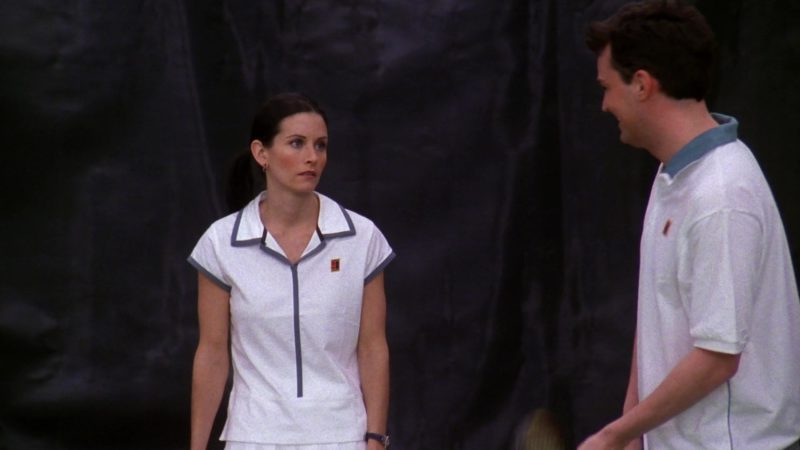 "Nike Women's Tennis Shirt and Nike White Sports Skirt Worn by Courteney Cox (Monica Geller) in Friends Season 5 Episode 12 ""The One with Chandler's Work Laugh"" (1999) - TV Show Product Placement"