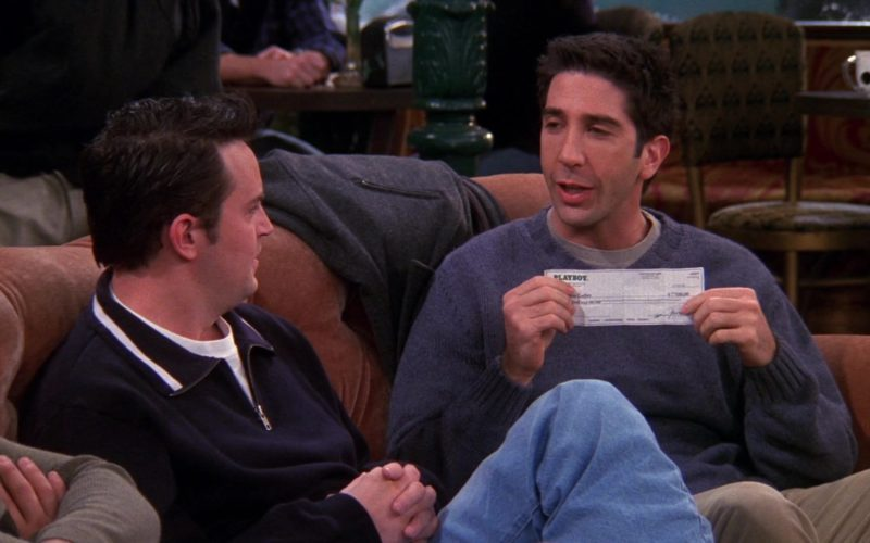 Playboy Check Payment Held by David Schwimmer (Ross Geller) in Friends