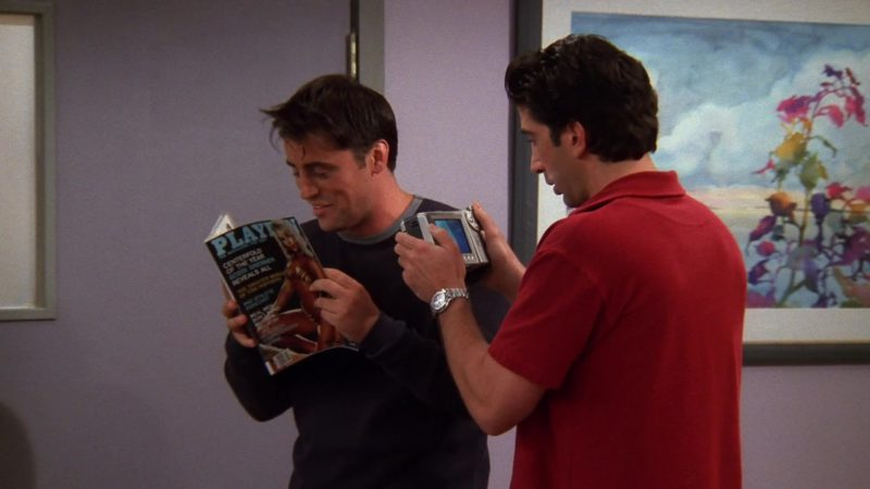 """Playboy Magazine Held by Matt LeBlanc (Joey Tribbiani) in Friends Season 5 Episode 3 """"The One Hundredth"""" (1998) - TV Show Product Placement"""