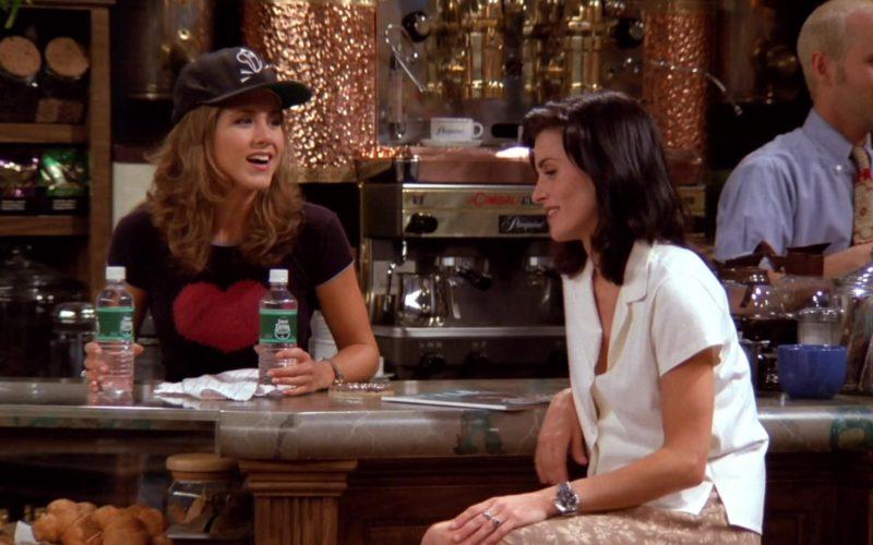 Poland Spring Water bottles Held by Jennifer Aniston (Rachel Green) in Friends Season 1 Episode 3 (1)