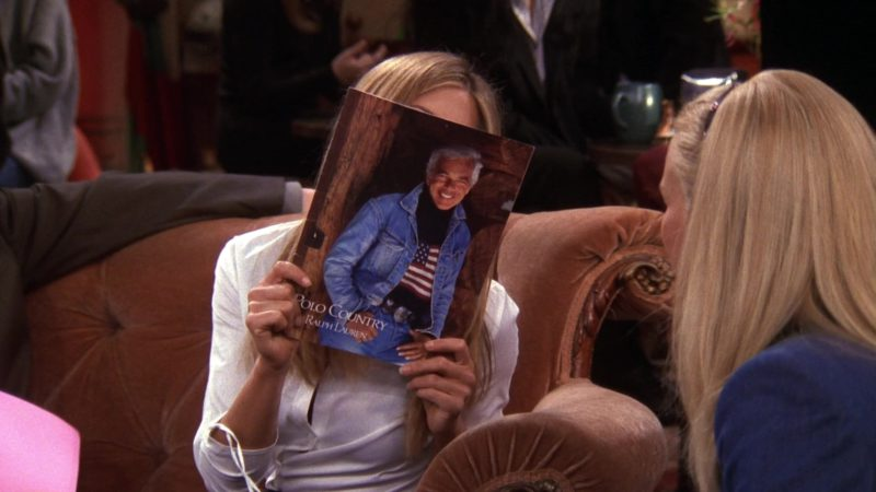 "Polo Country by Ralph Lauren Catalog Held by Jennifer Aniston (Rachel Green) in Friends Season 6 Episode 8 ""The One With Ross' Teeth"" (1999) TV Show Product Placement"