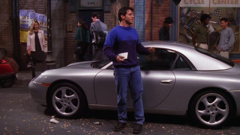 "Porsche 911 Carrera Cabrio [996] Convertible Metallic Sports Car in Friends Season 6 Episode 5 ""The One with Joey's Porsche"" (1999) - TV Show Product Placement"
