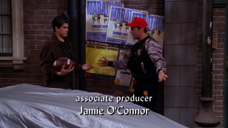 """Porsche Outfit Worn by Matt LeBlanc (Joey Tribbiani), Nike Posters and Top Flite Football in Friends Season 6 Episode 5 """"The One with Joey's Porsche"""" (1999) TV Show Product Placement"""