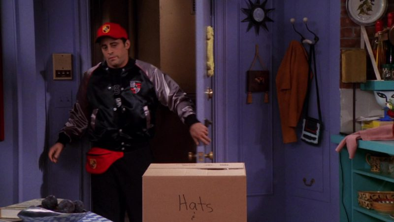 "Porsche Jacket, Cap & Belt Bag Worn by Matt LeBlanc (Joey Tribbiani) in Friends Season 6 Episode 5 ""The One with Joey's Porsche"" (1999) TV Show Product Placement"