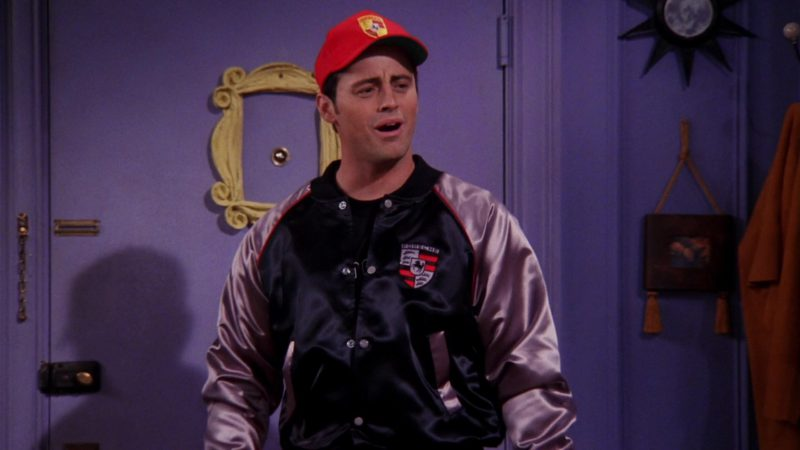 """Porsche Jacket, T-Shirt and Red Cap Worn by Matt LeBlanc (Joey Tribbiani) in Friends Season 6 Episode 5 """"The One with Joey's Porsche"""" (1999) TV Show Product Placement"""