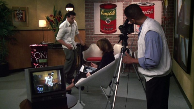 """Purina ONE Dog Food and Campbell's Soup Company Posters in Friends Season 6 Episode 4 """"The One Where Joey Loses His Insurance"""" (1999) TV Show"""