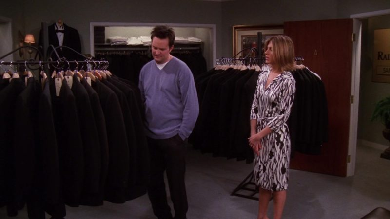 "Ralph Lauren Jackets, Pants and Suits in Friends Season 7 Episode 20 ""The One With Rachel's Big Kiss"" (2001) TV Show Product Placement"