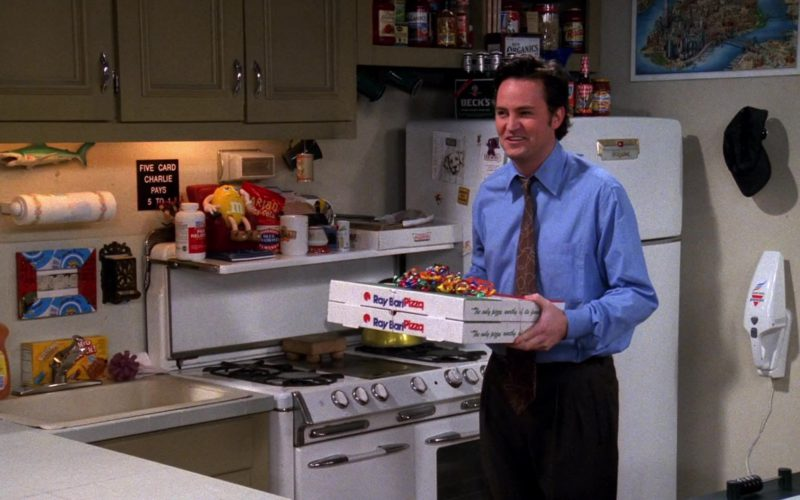 Ray Bari Pizza Held by Matthew Perry (Chandler Bing), Beck's Beer, M&M's Toy, Blue Diamond Almonds