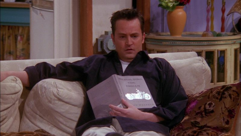 """Rebuilding the Indian Book by Fred Haefele Held by Matthew Perry (Chandler Bing) in Friends Season 6 Episode 13 """"The One With Rachel's Sister"""" (2000) - TV Show Product Placement"""