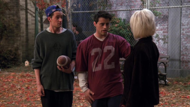 "Reebok x New York Giants American Football Team Cap Worn by Matthew Perry (Chandler Bing) in Friends Season 3 Episode 9 ""The One with the Football"" (1996) - TV Show Product Placement"