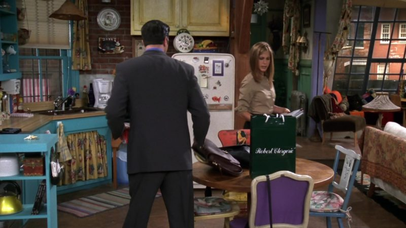 "Robert Clergerie Green Paper Bag in Friends Season 4 Episode 2 ""The One with the Cat"" (1997) TV Show Product Placement"