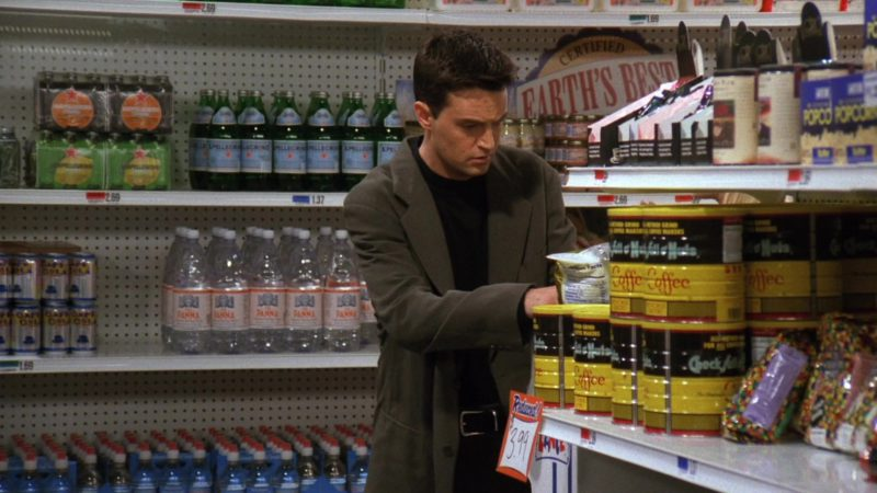 "S. Pellegrino, Acqua Panna, Chock full o'Nuts Coffee in Friends Season 3 Episode 4 ""The One With the Metaphorical Tunnel"" (1996) TV Show Product Placement"