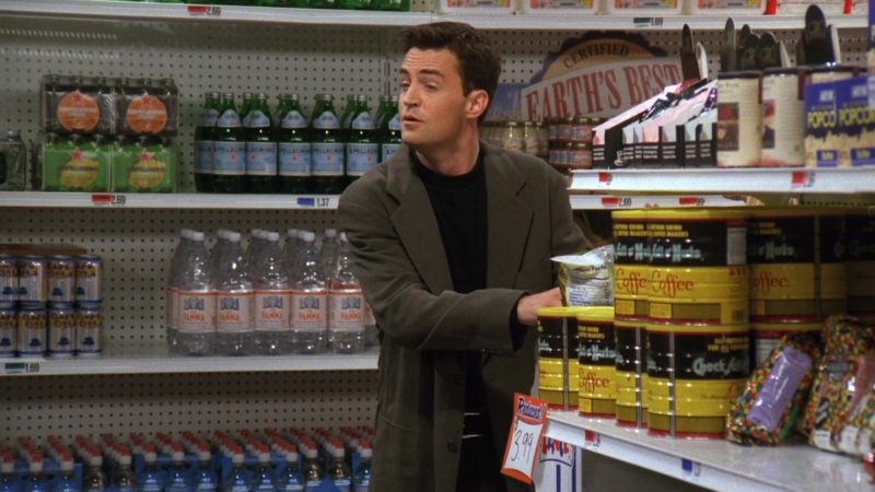 """S. Pellegrino, Acqua Panna, Chock full o'Nuts Coffee in Friends Season 3 Episode 4 """"The One With the Metaphorical Tunnel"""" (1996) - TV Show Product Placement"""