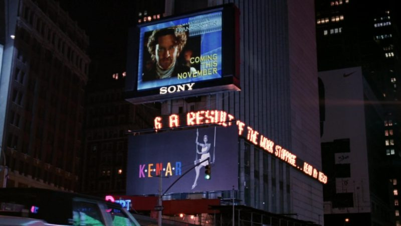 """Sony Digital Billboard and Mary Shelley's Frankenstein Movie in Friends Season 5 Episode 20 """"The One with the Ride-Along"""" (1999) TV Show Product Placement"""