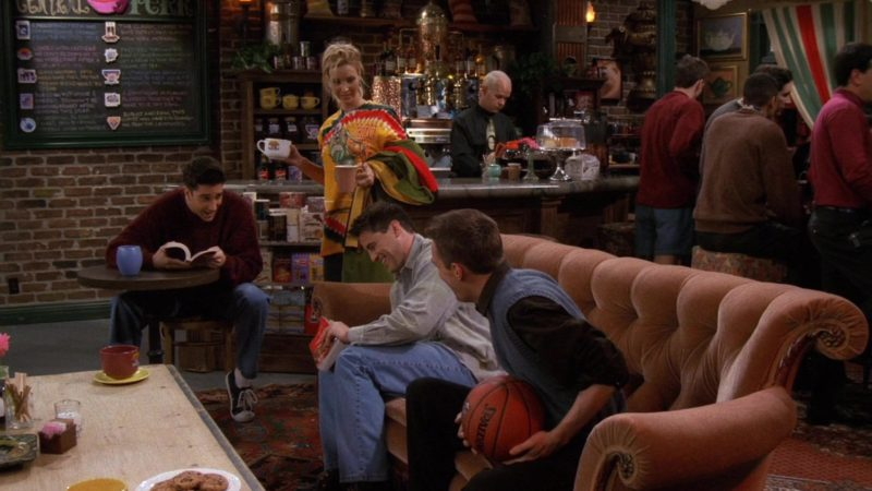 """Spalding Basketball Held by Matthew Perry (Chandler Bing) in Friends Season 3 Episode 13 """"The One Where Monica and Richard are Just Friends"""" (1997) - TV Show Product Placement"""