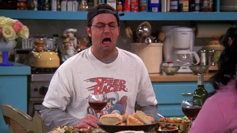 """Speed Racer T-Shirt Worn by Matthew Perry (Chandler Bing) in Friends Season 6 Episode 16 """"The One That Could Have Been Part 2"""" (2000) - TV Show Product Placement"""
