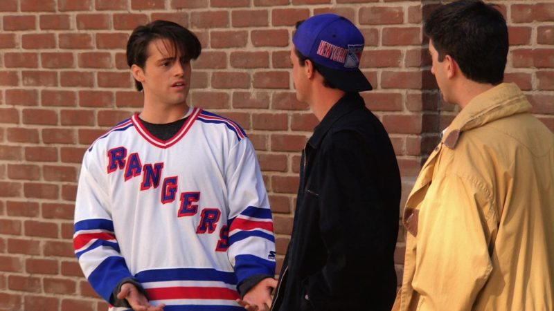 """Starter New York Rangers Cap Worn by Matthew Perry (Chandler Bing) in Friends Season 1 Episode 4 """"The One with George Stephanopoulos"""" (1994) TV Show Product Placement"""