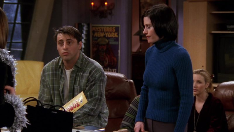 "Toblerone Chocolate Held by Matt LeBlanc (Joey Tribbiani) in Friends Season 4 Episode 18 ""The One with Rachel's New Dress"" (1998) - TV Show Product Placement"