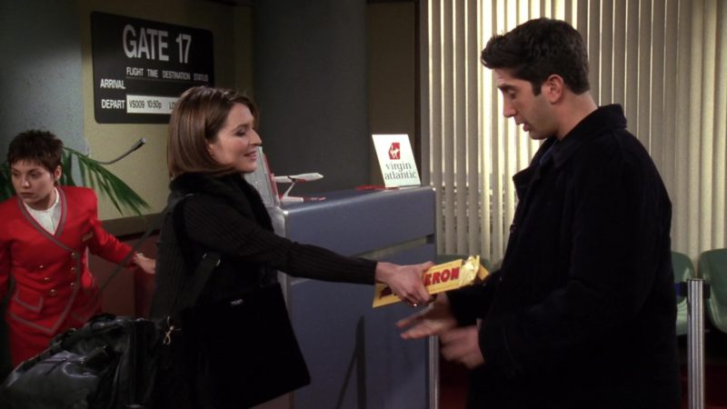 """Toblerone Chocolate and Virgin Atlantic Airlines in Friends Season 4 Episode 18 """"The One with Rachel's New Dress"""" (1998) - TV Show Product Placement"""