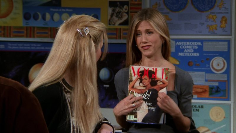 """Vogue Magazine Held by Jennifer Aniston (Rachel Green) in Friends Season 5 Episode 9 """"The One With Ross' Sandwich"""" (1998) - TV Show Product Placement"""