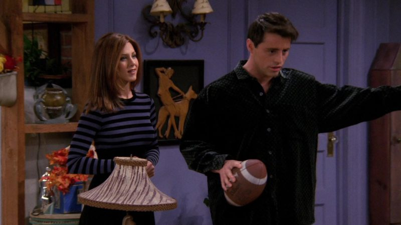 """Wilson Football Held by Matt LeBlanc (Joey Tribbiani) in Friends Season 3 Episode 9 """"The One with the Football"""" (1996) TV Show Product Placement"""