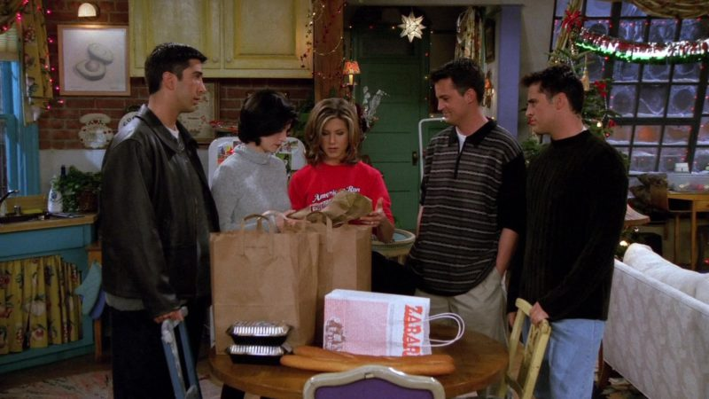 """Zabar's Grocery Store Paper Bag in Friends Season 2 Episode 9 """"The One with Phoebe's Dad"""" (1995) - TV Show Product Placement"""