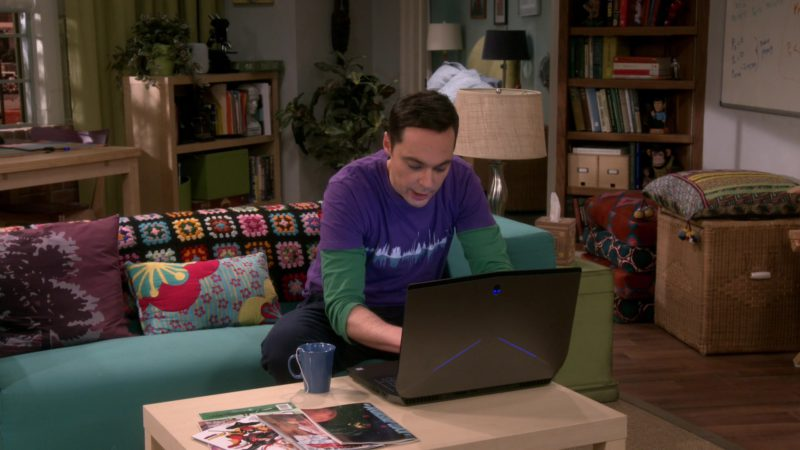Alienware Laptop Used by Jim Parsons (Sheldon Cooper) in The Big Bang Theory - Season 12, Episode 19, The Inspiration Deprivation (2019) - TV Show Product Placement