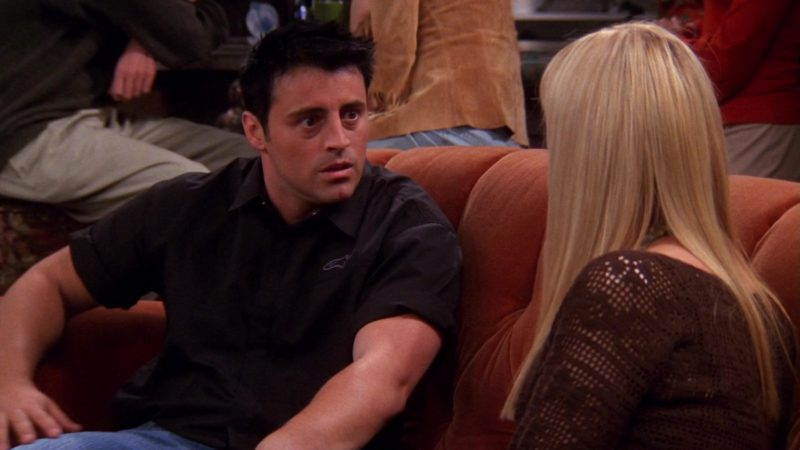 """Alpinestars Black Shirt Worn by Matt LeBlanc (Joey Tribbiani) in Friends Season 9 Episode 4 """"The One With the Sharks"""" (2002) - TV Show Product Placement"""