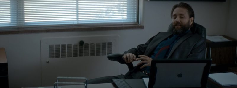 Apple MacBook Laptop With Black Case Used by Vincent Kartheiser in Crypto (2019) Movie Product Placement